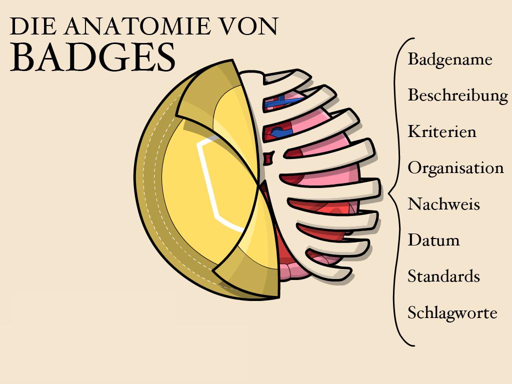 Die Anatomie von Badges: Badgename, Beschreibung, Kriterien, Organisation, Nachweis, Datum, Standards, Schlagworte